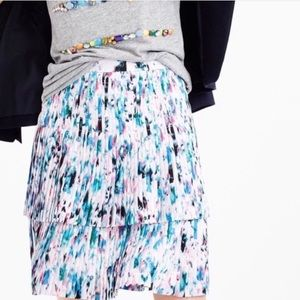 J. Crew Two Tier Pleated Watercolor Skirt